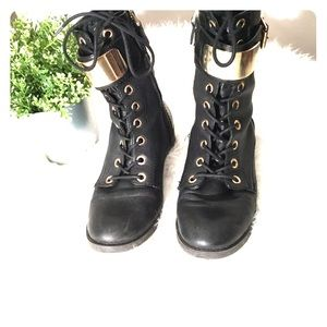 Guess black leather and brass boots 9